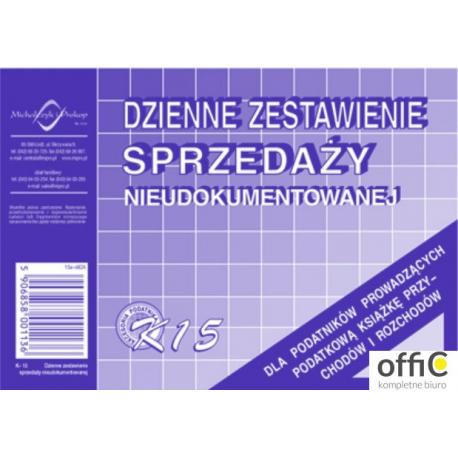 K-15 Dzienne zest.sprzedaży księgowo nieudokumentowanej MICHALCZYK