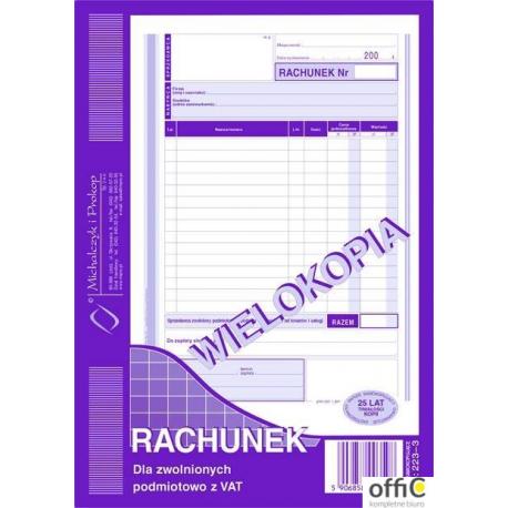 223-3 Rachunek A5 dla zw.z VAT (pion) wielokopia MICHALCZYK i PROKOP