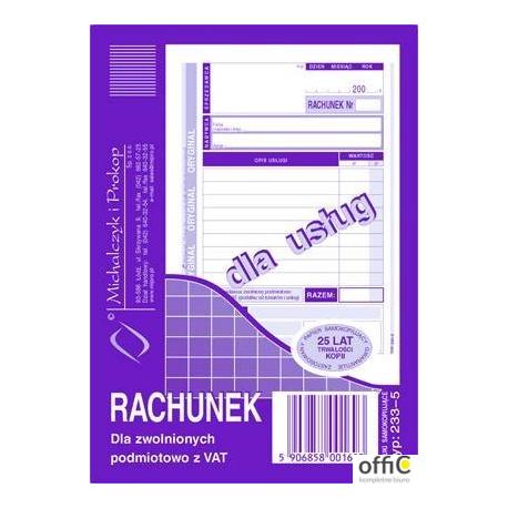 233-5 Rachunek A6 dla zwol.z VAT(usługa) MICHALCZYK i PROKOP