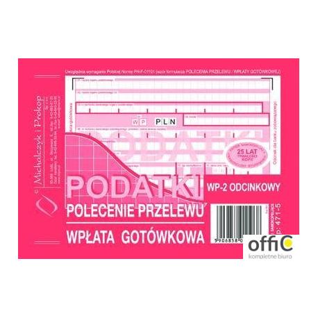 471-5 Podatki Polecenie Przelewu MICHALCZYK&PROKOP A6 80 kartek