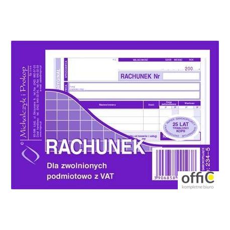 234-5 Rachunek MICHALCZYK&PROKOP A6 80 kartek poziom(o+k)
