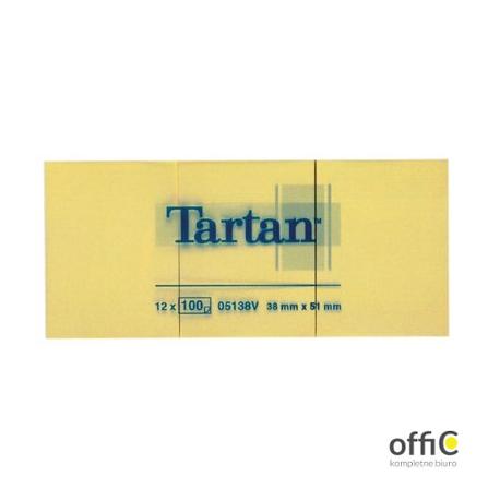 Bloczek TARTAN żółte 38x51 (12)05138V 3M POST-IT