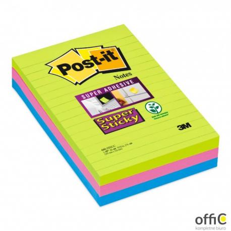 Bloczki 3M POST-IT 660-3S 102x152mm 3x90k linia Super Sticky 70005253409
