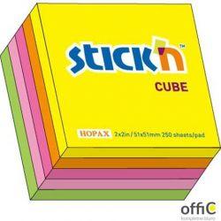 """Bloczek STICK""""N 51x51mm mix 5 kolorów neonowych 21203"""