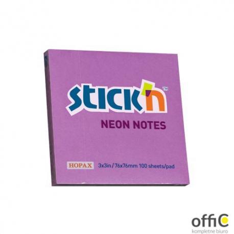 "Bloczek STICK""N 76x76mm fioletowy neonowy 100k 21100k 210 STICK""N"