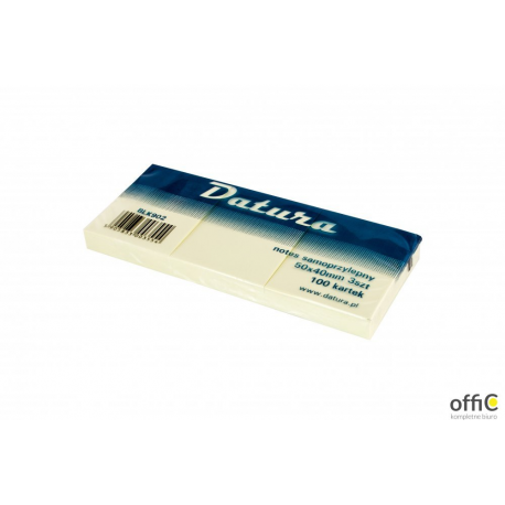 Bloczek samoprzylepny DATURA 40x50 żółty 100 kartek (3szt) (NS40/50/3/D)