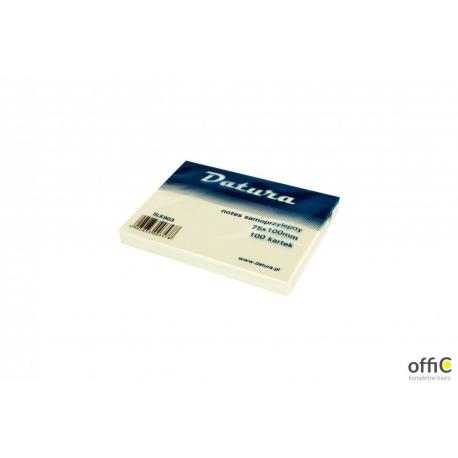 Bloczek samoprzylepny DATURA 75x100 żółty 100 kartek (NS100/75/D)