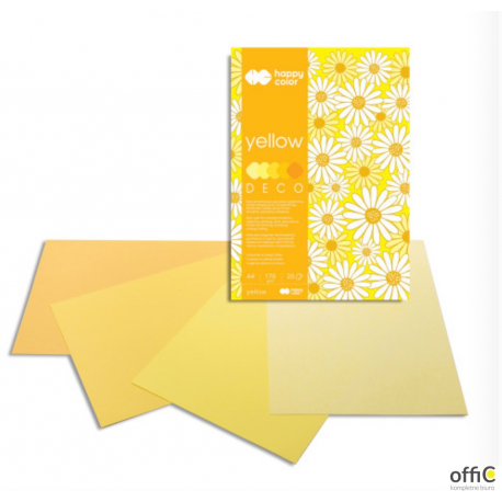 Blok DECO YELLOW HAPPY COLOR A4 20ark.170g 5 kolorów HA 3717 2030-012