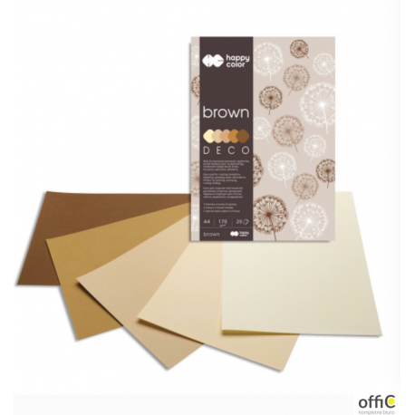 Blok DECO BROWN HAPPY COLOR A4 20ark.170g 5 k olorów HA 3717 2030-072