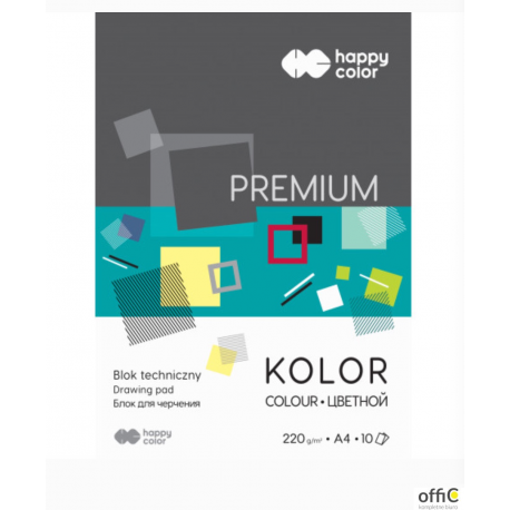 Blok techniczny HAPPY COLOR PREMIUM A4 10kol.220g HA 3722 2030-09