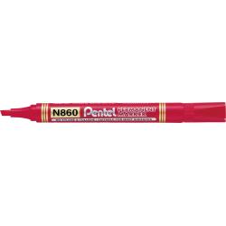 Marker permanentny N860 czerwony ścięta końcówka PENTEL