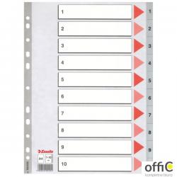 Przekładki plastikowe szare PP A4 1-10 100105 numeryczne ESSELTE