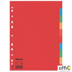 Przekładki karton A4 10 kart ESSELTE 100201 kolorowe bez karty opisowej