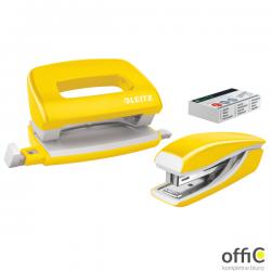 Zszywacz + dziurkacz metalowy Leitz Mini WOW, żółty, 10 lat gwarancji, 10 kartek 55612016