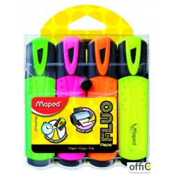 Zakreślacz FLUO PEPS mix kolorów 4szt etui z zawieszką MAPED 742547