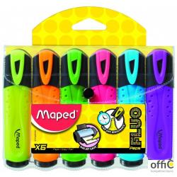 Zakreślacz FLUO PEPS mix kolorów 6szt etui z zawieszką MAPED 742557