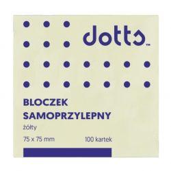Bloczek samoprzylepny DOTTS 75x75 żółty 100 kartek (HNS75/75/D)