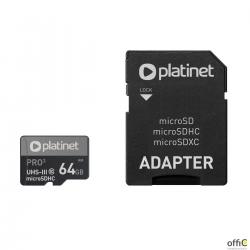 Karta pamięci Micro SDhc + adapter 64GB class10 UIII A1 90MB/s Platinet PMMSDX64UI