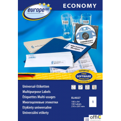 Etykiety uniwersalne ELA027 210 x 297 100 ark. Economy Europe100 by Avery Zweckform