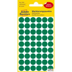 Kółka do zaznaczania zielone 3143 _12 5 ark. Avery Zweckform