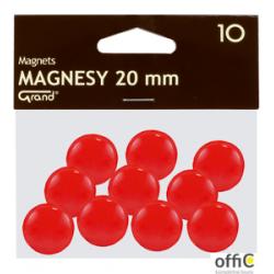 Magnes 20mm GRAND, czerwony, 12 szt 130-1688