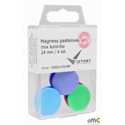 Magnesy 24mm pastelowe mix kolorów 6sztuk VICTORY VO5024KM6-99P